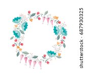 stylized wreath of flowers... | Shutterstock .eps vector #687930325