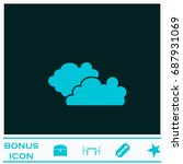 clouds icon flat. simple blue...