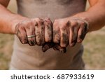 worker man with dirty hands.... | Shutterstock . vector #687933619