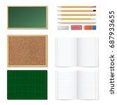 set of realistic 3d wooden... | Shutterstock .eps vector #687933655