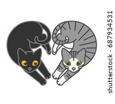 cute cats on white background.... | Shutterstock .eps vector #687934531