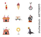 traveling chapiteau circus... | Shutterstock .eps vector #687938095