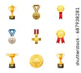 medals and awards icons set....   Shutterstock .eps vector #687938281