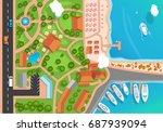 top view of the resort town ... | Shutterstock .eps vector #687939094