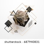 Gold, black, white marble template, artistic covers design, colorful texture, realistic cube, backgrounds. Trendy pattern, graphic poster, geometric brochure, cards. Vector illustration. | Shutterstock vector #687940831