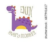 funny cartoon dinosaur. | Shutterstock .eps vector #687941617