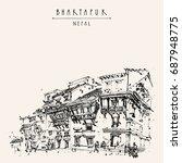 bhaktapur  historical town in... | Shutterstock . vector #687948775
