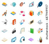 tutorial icons set. isometric... | Shutterstock .eps vector #687949957