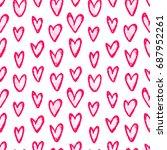 ink hand drawn seamless pattern ... | Shutterstock .eps vector #687952261