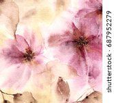 floral background. watercolor... | Shutterstock . vector #687952279