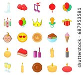 appointment icons set. cartoon... | Shutterstock .eps vector #687953581