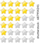 glossy 5 star rating sticker... | Shutterstock .eps vector #687954241