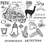 set of hand drawn peruvian... | Shutterstock .eps vector #687957094