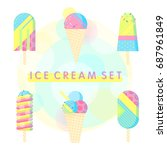 colorful ice cream collection... | Shutterstock .eps vector #687961849