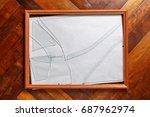 wooden photo frame with broken... | Shutterstock . vector #687962974