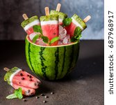 striped watermelon  coconut... | Shutterstock . vector #687968917