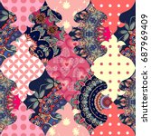 cute seamless patchwork... | Shutterstock .eps vector #687969409