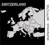 europe map with switzerland... | Shutterstock .eps vector #687971731