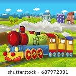 cartoon funny looking steam... | Shutterstock . vector #687972331