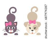cartoon dog and cat girl set | Shutterstock .eps vector #687974287
