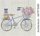 bicycle embroidery with small... | Shutterstock .eps vector #687975085