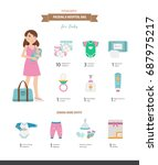 packing a hospital bag. vector... | Shutterstock .eps vector #687975217