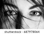 stared female eyes under... | Shutterstock . vector #687978064