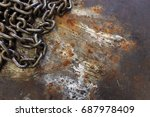old chain on rusted metal sheet ... | Shutterstock . vector #687978409