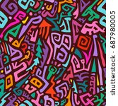 seamless hand drawn pattern in...   Shutterstock .eps vector #687980005