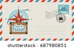 postal envelope with stamp and... | Shutterstock .eps vector #687980851