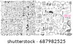 hand drawn food elements. set... | Shutterstock .eps vector #687982525