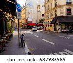 cozy street with tables of cafe ... | Shutterstock . vector #687986989