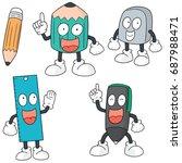 vector set of pen  pencil ... | Shutterstock .eps vector #687988471