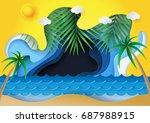 summer beach background.ocean... | Shutterstock .eps vector #687988915