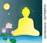 sitting buddha lotus flowers... | Shutterstock .eps vector #687988924