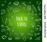 back to school. hand drawn... | Shutterstock .eps vector #687989791