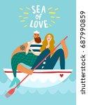 sailor in boat holding... | Shutterstock .eps vector #687990859