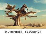 elephant in a dry tree in... | Shutterstock . vector #688008427