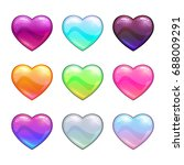 cartoon colorful glossy hearts. ...