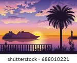 tropical landscape  view from... | Shutterstock .eps vector #688010221