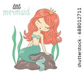 beautiful little mermaid...   Shutterstock .eps vector #688012711