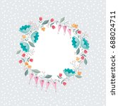 stylized wreath of flowers... | Shutterstock .eps vector #688024711
