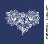 lace flowers decoration element | Shutterstock .eps vector #688026094