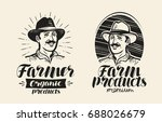 portrait of happy farmer in hat ... | Shutterstock .eps vector #688026679