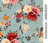 seamless floral pattern in... | Shutterstock .eps vector #688028269