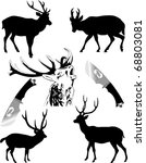 silhouettes of deer of... | Shutterstock .eps vector #68803081