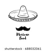 sombrero and mustache label.... | Shutterstock .eps vector #688032061