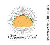 taco. mexico food. traditional... | Shutterstock .eps vector #688032079