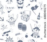 seamless pattern of pirates... | Shutterstock .eps vector #688040275