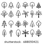 tree icon set vector black and... | Shutterstock .eps vector #688050421